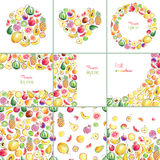 Collection of templates with hand drawn bright stylish fruits Royalty Free Stock Photography
