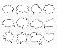 Collection of templates speech bubbles. Hand drawn, doodles Royalty Free Stock Image