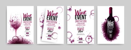 Collection of templates with wine designs. Brochures, posters, invitation cards, promotion banners, menus. Wine stains background vector illustration
