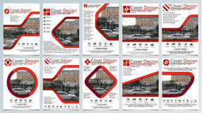Collection of ten brochure template for annual technology related reposts,vector design a4 layout with space for text and photos Stock Images