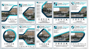 Collection of ten brochure template for annual technology related reposts,vector design a4 layout with space for text and photos b Stock Images
