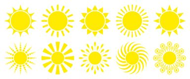 Set Of Ten Yellow Graphic Sun Icons royalty free illustration