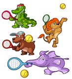 Collection of tennis playing animals Royalty Free Stock Image