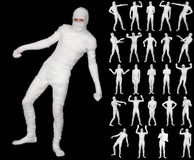 Collection of terrible bandaged mummies on black Stock Photos
