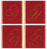 Collection of textile monograms EG, EM, ER, ES Stock Image