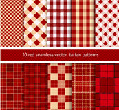 Collection textile red tartan  seamless plaid patterns. vector background. Stock Photography