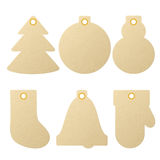Collection of textured kraft paper Christmas and New Year gift tags Stock Photos