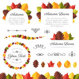Collection of Textured Vector Autumn Leaves Royalty Free Stock Photos
