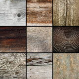 Collection of textured wooden surfaces Royalty Free Stock Photos