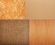 Collection of textures backgrounds - burlap, cork, timber, corru Stock Photo