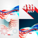 Collection of 4th july american independence day background. Vector collection of 4th july american independence day background with wave Royalty Free Stock Photos