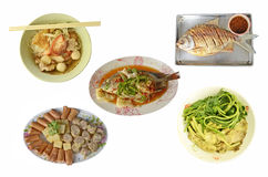 Collection Thai food style. Yummy food set on white background Royalty Free Stock Photography