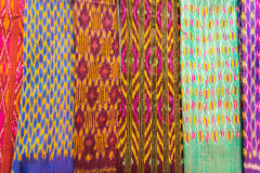 Collection of Thai silk cloths at the weekend market. Stock Photography