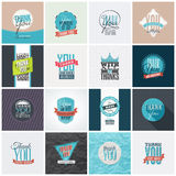 Collection of Thank You Card Designs. Collection of 16 vintage Thank You card designs. Well structured vector file with each card template on separate layer Royalty Free Stock Image