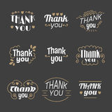 Collection of 9 Thank you labels, emblems, stickers or badges. D Stock Images