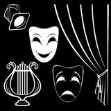 Collection of theatrical characters. On black background Royalty Free Stock Photo