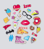 Collection of Things for Teens Vector Stickers Set. Set of stickers isolated. Icons for teenager age. Food, sweets, batman symbol, cap, diamonds, glasses, cat s Royalty Free Stock Photos