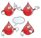 Thinking blood drop set. Collection of thinking blood drops with various gestures Royalty Free Stock Photos