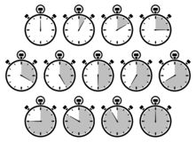 Set Of Thirteen Graphic Stopwatches Gray Different Times stock illustration