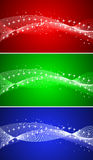 Collection of three backgrounds. In red green and blue colors, vector illustration royalty free illustration