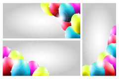 Vector Collection of Three Easter Cards with Color. Collection of Three Easter Cards with Cute Colorful Eggs Stock Images