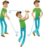Collection of three Happy Golfers on the white background Royalty Free Stock Photos