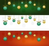 Christmas garland with tree decorations. Collection of three headers, green, red and white. Christmas garland with yellow and green tree decorations with golden Stock Photos