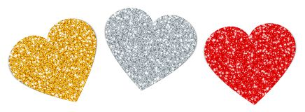 Set Three Turned Hearts Sparkling Gold Silver Red royalty free illustration
