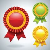 Collection of three vector Medals. With ribbons Royalty Free Stock Photos