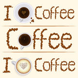 Collection of three vintage coffee banners in. Set of I love coffee banners with coffee beans type, cappuccino, espresso and coffee cups. Elegant banners for Stock Photo