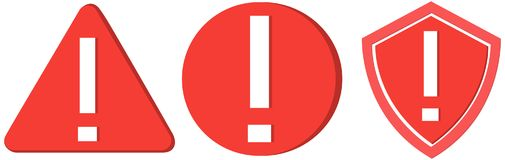 Collection of three warning icons stock photography