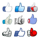 Collection of thumbs Up icons, holidays design Royalty Free Stock Image