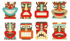 Set of tiki tribal mask. Collection of tiki tribal mask. Set for scrapbooking. Vector template mask for greeting, decorations, congratulations in retro green Stock Photography