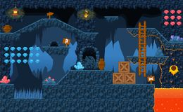 Lava Cave Platformer Tileset. Collection of tiles, objects, and background to make a platformer video games with underground lava cave theme Stock Photos
