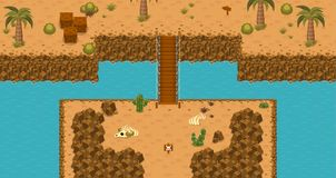 The Desert Top Down Game Tileset. Collection of tiles and objects for creating 2d top down video games with desert wasteland theme Royalty Free Stock Image