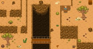 The Desert Top Down Game Tileset. Collection of tiles and objects for creating 2d top down video games with desert wasteland theme Stock Photo