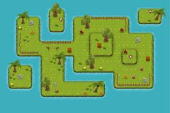 The Island Down Game Tileset. Collection of tiles and objects for creating 2d top down video games with fantasy island theme Stock Photo
