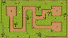 The Island Down Game Tileset. Collection of tiles and objects for creating 2d top down video games with fantasy island theme Stock Images