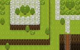 Medieval Village Top Down Game Tileset. Collection of tiles and objects for creating 2d top down video games with fantasy Medieval Village theme Stock Photography