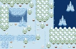The Arctic Top Down Game Tileset. Collection of tiles and objects for creating 2d top down video games with freezing arctic theme Stock Photos