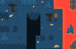 Lava Cave Top Down Game Tileset. Collection of tiles and objects for creating 2d top down video games with underground lava cave theme Royalty Free Stock Photography