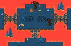 Lava Cave Top Down Game Tileset. Collection of tiles and objects for creating 2d top down video games with underground lava cave theme Stock Image