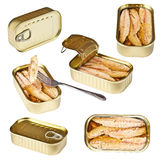 Collection of tin can whit mackerel Royalty Free Stock Photography
