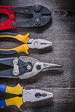 Collection of tin snips steel cutter pliers on Stock Photo