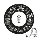 Collection tirée par la main avec des griffonnages de styles de musique Icônes de musique réglées dans des formes de cercle Logo  Photo libre de droits