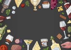 Collection tirée par la main d'alcool avec l'espace pour le texte sur le fond noir Alcool de vecteur, boissons et collection de n illustration stock