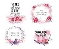 Collection tirée par la main d'amour artistique, mariage, conception de félicitation de Valentine Image libre de droits