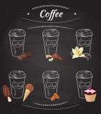 Collection tirée par la main de café illustration stock