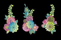 Collection tirée par la main de fleur, éléments de design de carte Photographie stock libre de droits