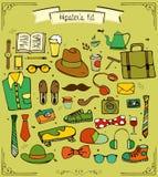 Collection tirée par la main de kit de hippie Images libres de droits